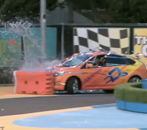 Sam Worthington crashes ford focus electric